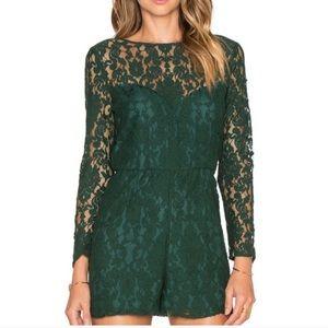 Bb Dakota Hunter Green Lace Long Sleeve Romper 4